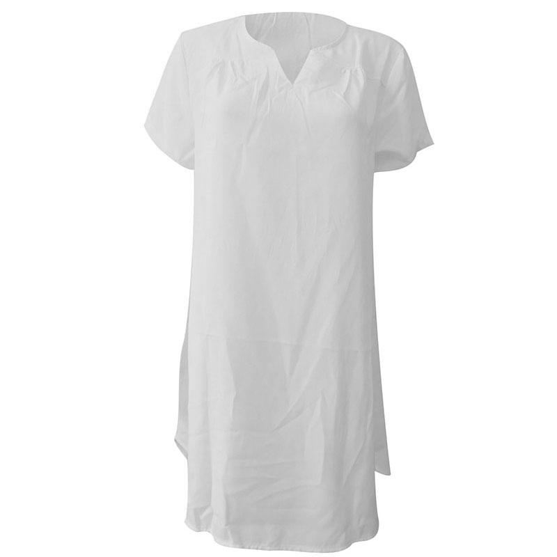 Women Loose V Neck Cotton Linen T-Shirt Casual Oversized Top Blouse Dress Plus