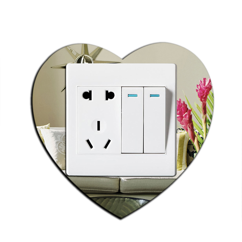 3pcs 3D Mirror Wall Stickers DIY Light Switch Surround Cover Socket Frame Decor