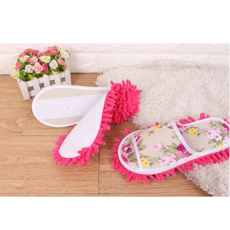 Details about  /Women House Floor Cleaning Polishing Dusting Foot Shoes Lazy Quick Mop Slippers