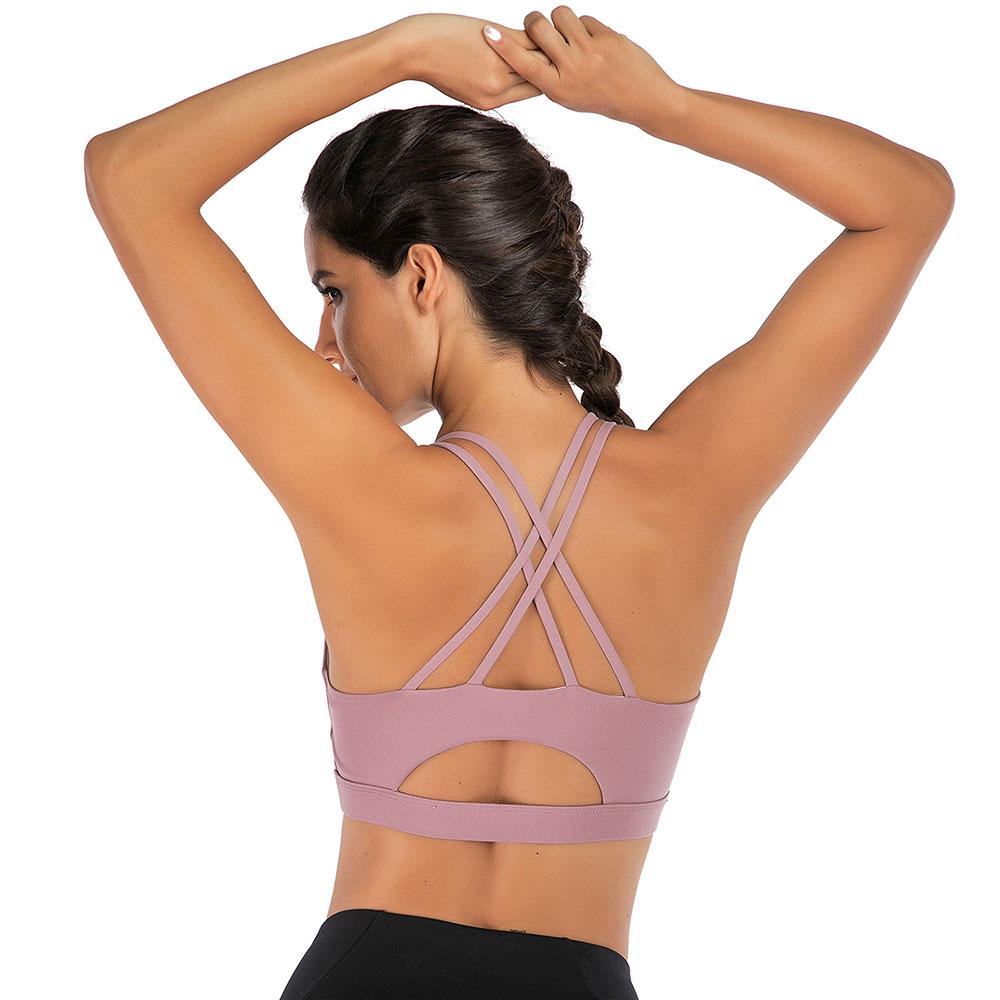 LB Women Sport Bra Cross Back Strappy Pad Yoga Fitness Run Workout Bra Crop Tops
