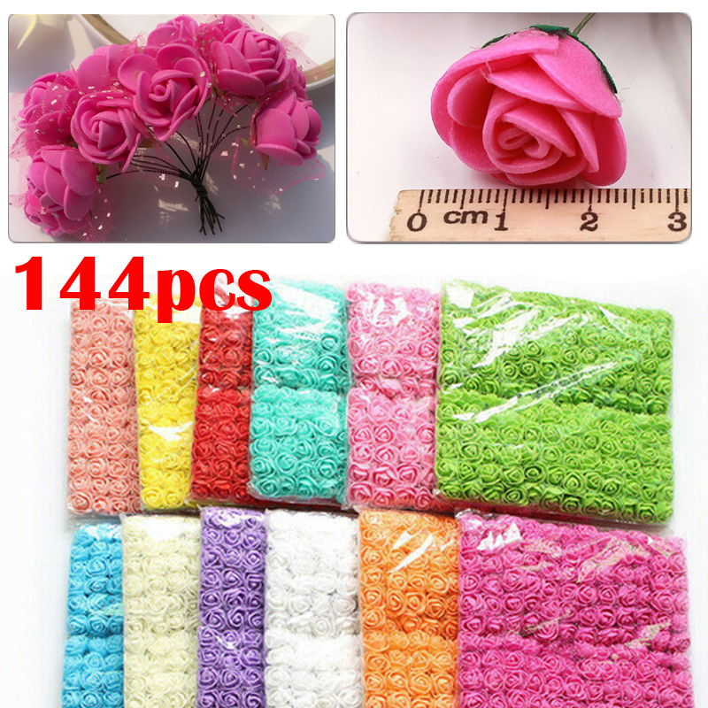 144Pcs//Pack Mini Foam Artificial Rose Flower With Stem Bouquet Wedding DIY Decor
