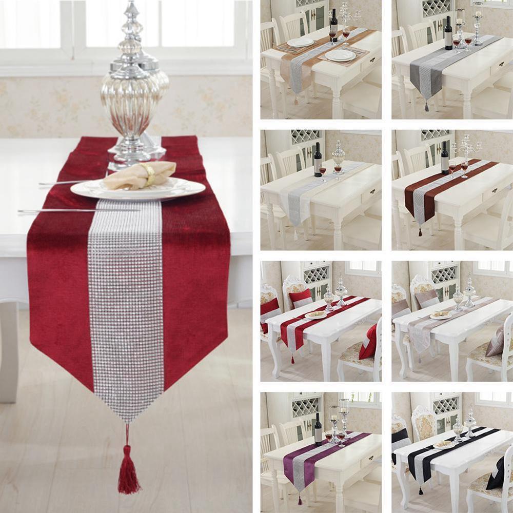 "72"" Diamante Velvet Table Runner + Dining Placemats Table Pl"