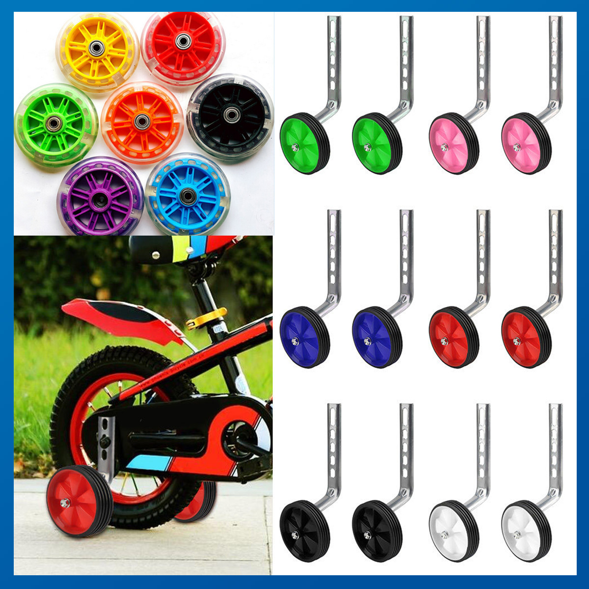 """Child Kids Bicycle Bike Training Support Wheels Fits 12-20/""""  Adjustable 3 Colors"""