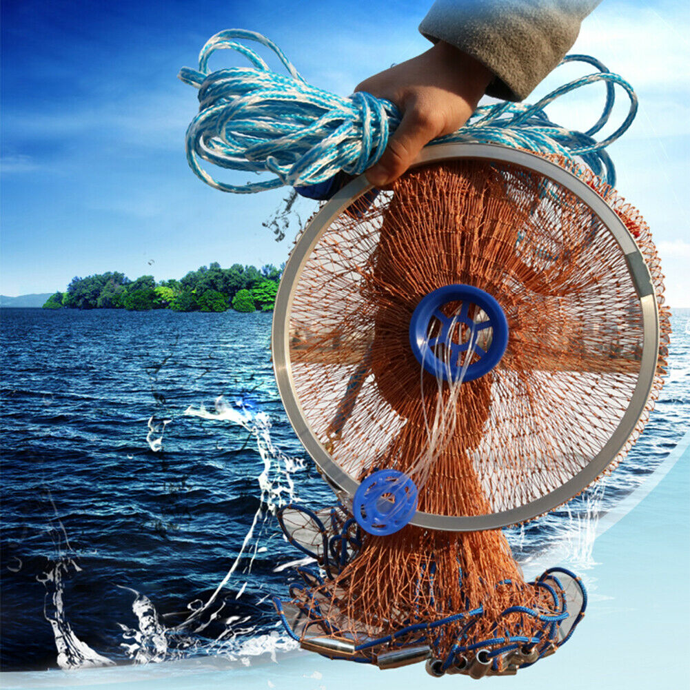 """8//12//16ft Fishing Net Bait Easy Throw Hand Cast 3//4/"""" Strong Nylon Mesh Sinker"""