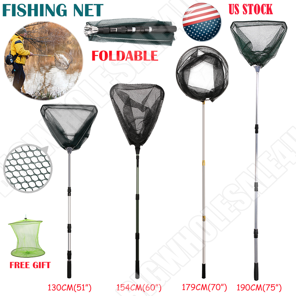 Telescopic Folding Aluminum Handle Fishing Landing Net Exten