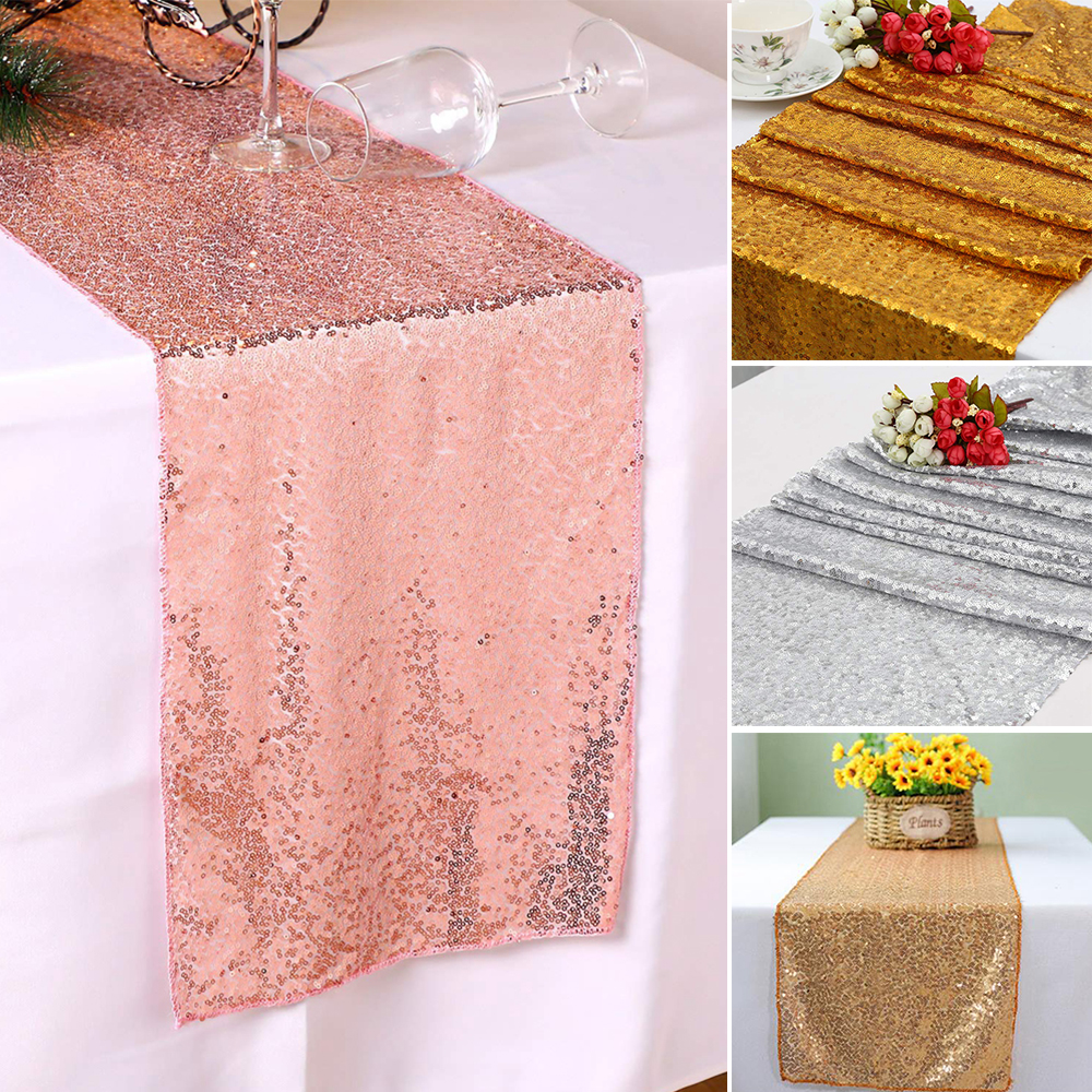 "12""x72""/108''/118'' Glitter Sequin Table Runner Cloth Banque"