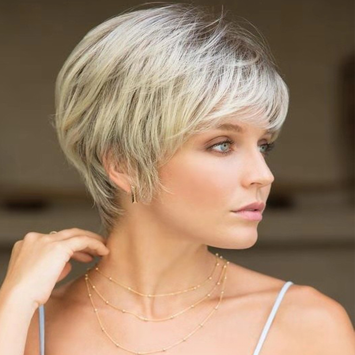 Short Pixie Cut Wig For Women Brown Hair Highlight Light Blonde Wigs With Bangs Ebay