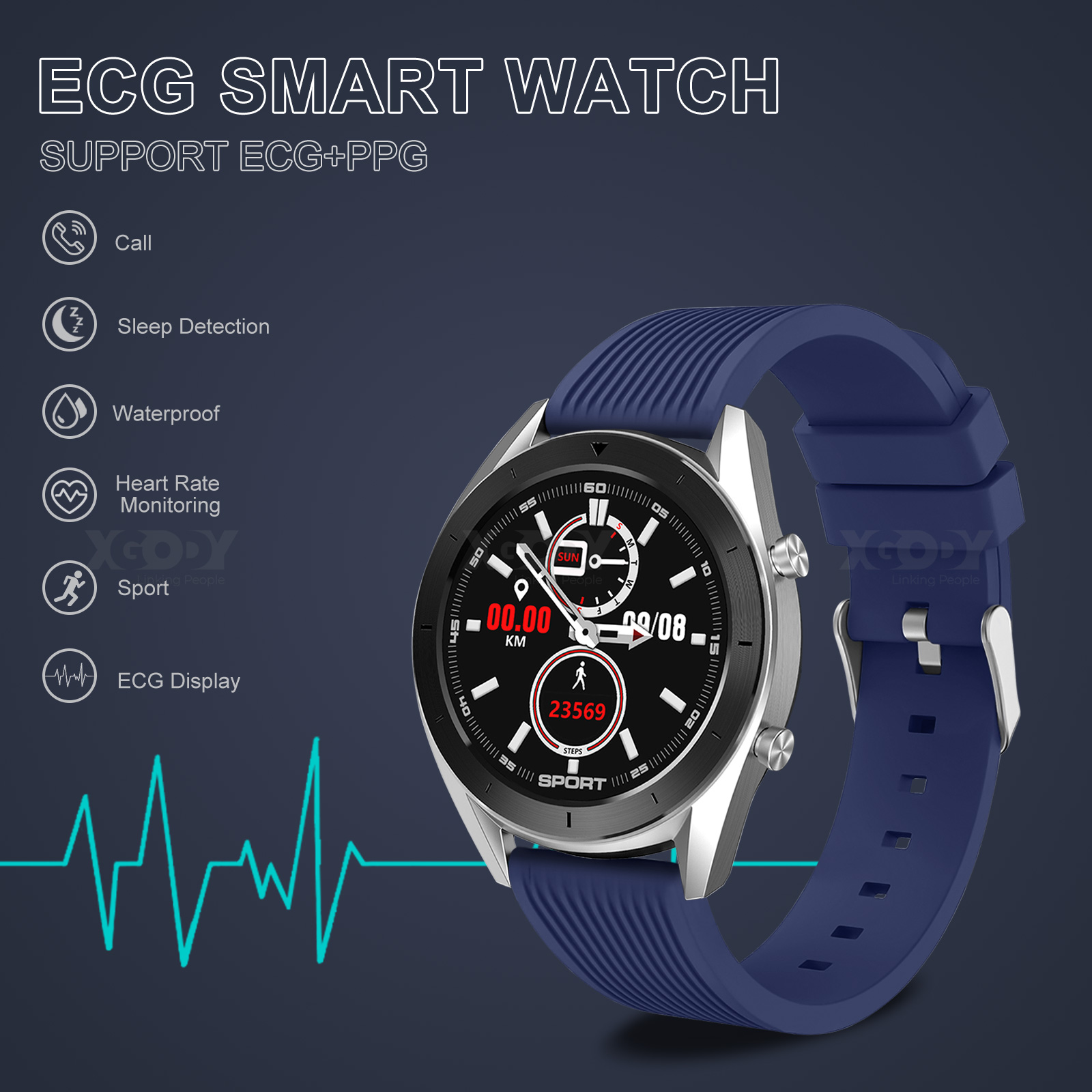 XGODY ECG Blood Pressure Oxygen Smart Watch Heart Rate Monitor Waterproof IP68 blood ecg Featured heart monitor oxygen pressure rate smart watch xgody