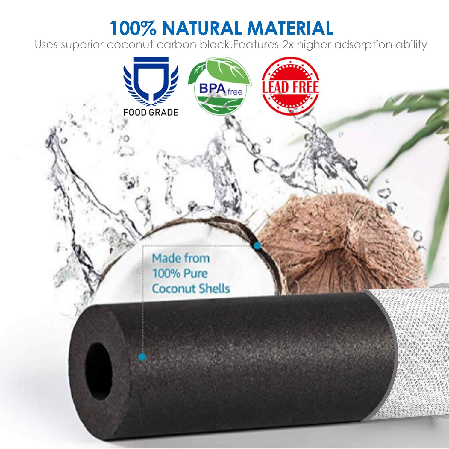 """3pcs 10/"""" x 2.5/"""" Coconut Shell Activated Carbon CTO GAC PP Sediment Water Filter"""