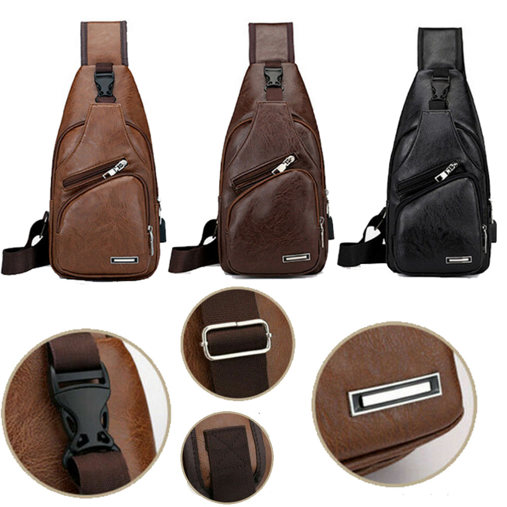 6a6fbf905c67 Details about Men's Leather Chest Sling Packs Shoulder Cross Body Bag Cycle  Day Packs Satchel