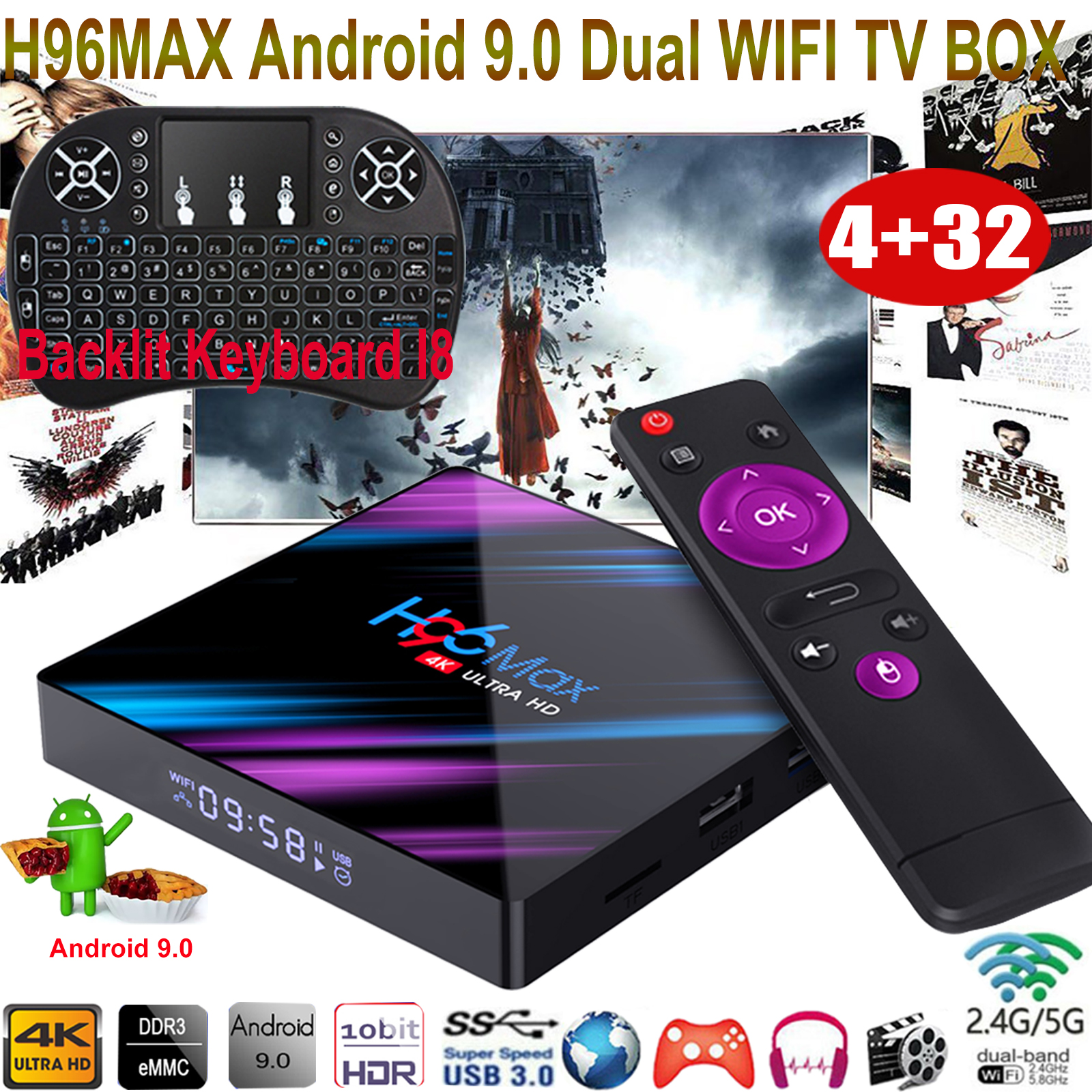H96 MAX 4+32G Android 9.0 Keyboard I8 TV BOX 4K Quad Core 2.4/5G WIFI USB3.0 3D android box core h96 keyboard max quad wifi