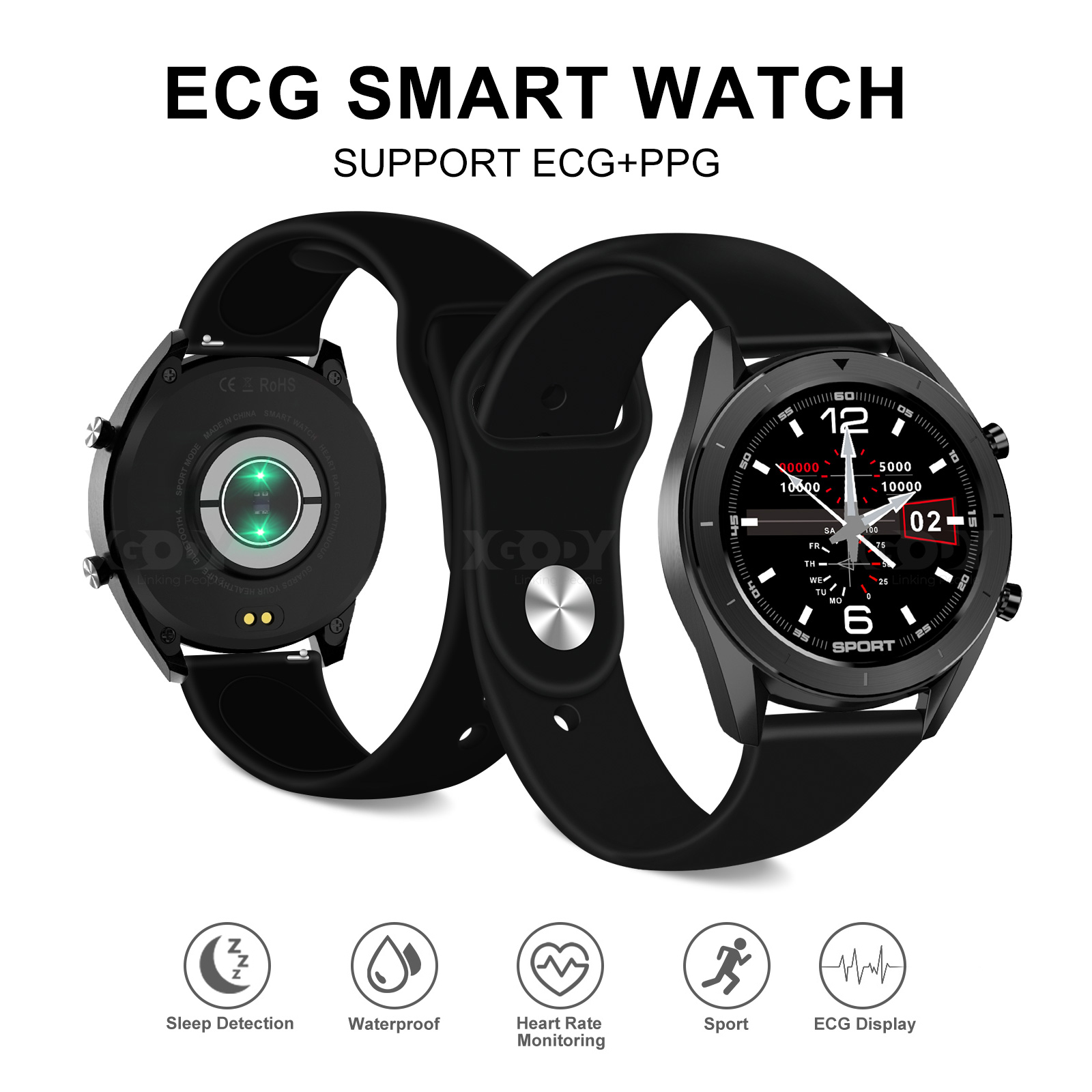 XGODY Smart Watch ECG Heart Rate Blood Oxygen Pressure Track