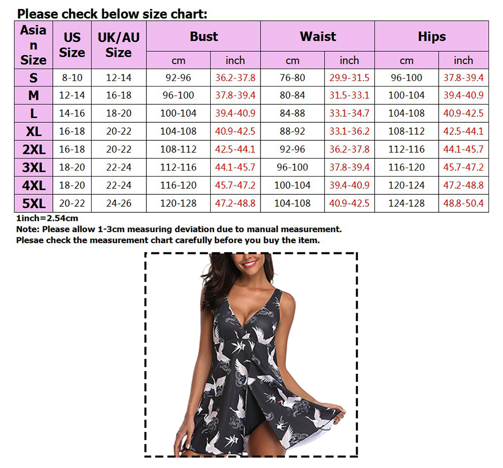 Plus-Size-Women-Tankini-Swimdress-Shorts-Briefs-Swimwear-Beachwear-Swimsuit thumbnail 38