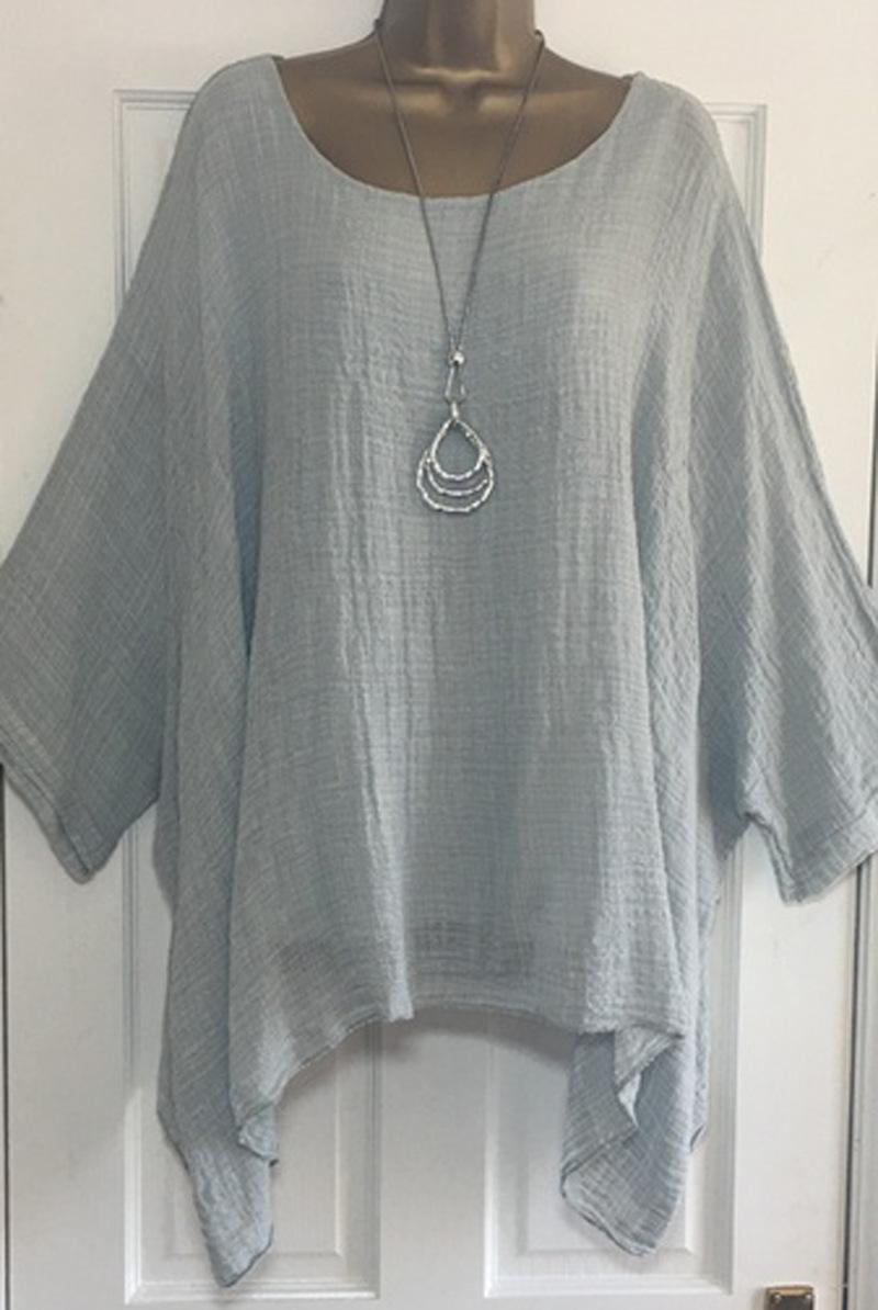 US-Plus-Size-Boho-Women-3-4-Sleeve-Kaftan-Baggy-Blouse-Top-Loose-Tee-Shirt-Tops thumbnail 13