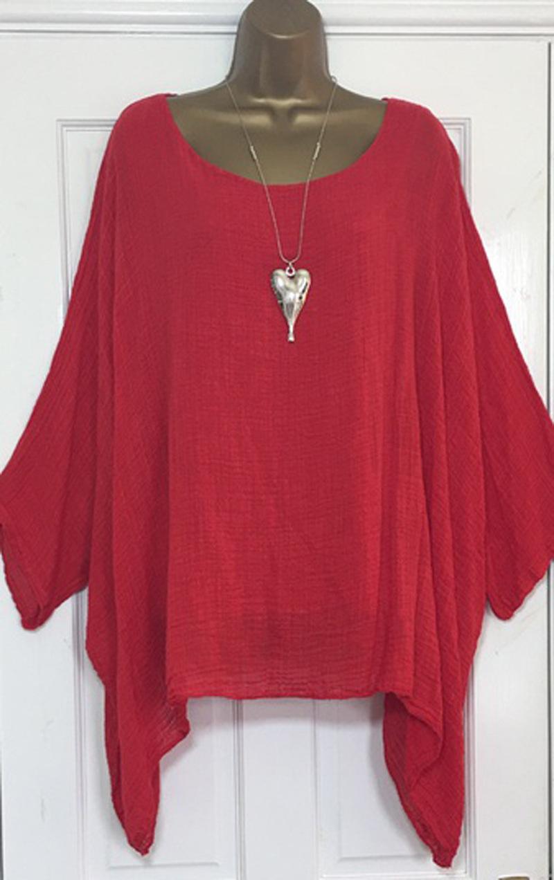 US-Plus-Size-Boho-Women-3-4-Sleeve-Kaftan-Baggy-Blouse-Top-Loose-Tee-Shirt-Tops thumbnail 14