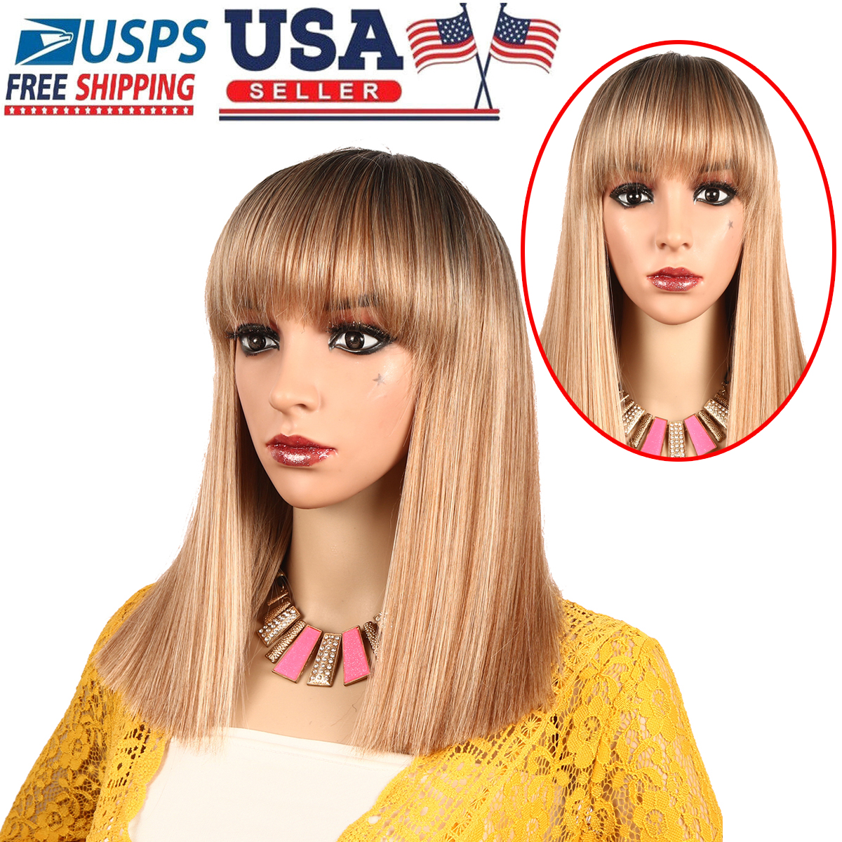 Details about Long Bob Straight Synthetic Hair Wig Ombre Blonde Bob Side  Part Dark Roots Wigs