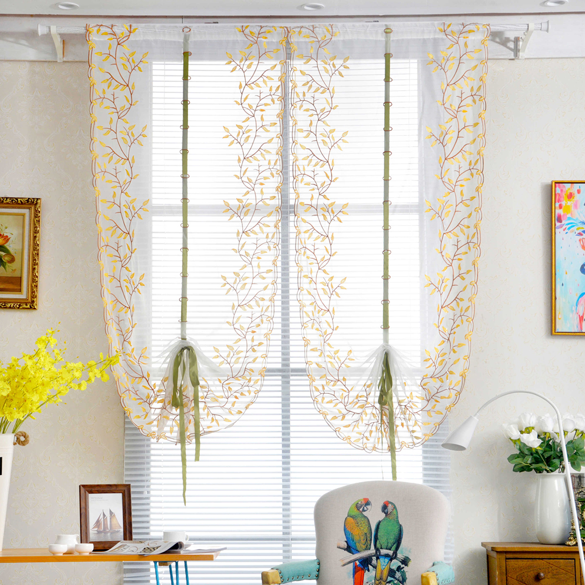 Details about Voile Tab Top Sheer Kitchen Balcony Window Curtain Liftable  Roman Curtains Gift