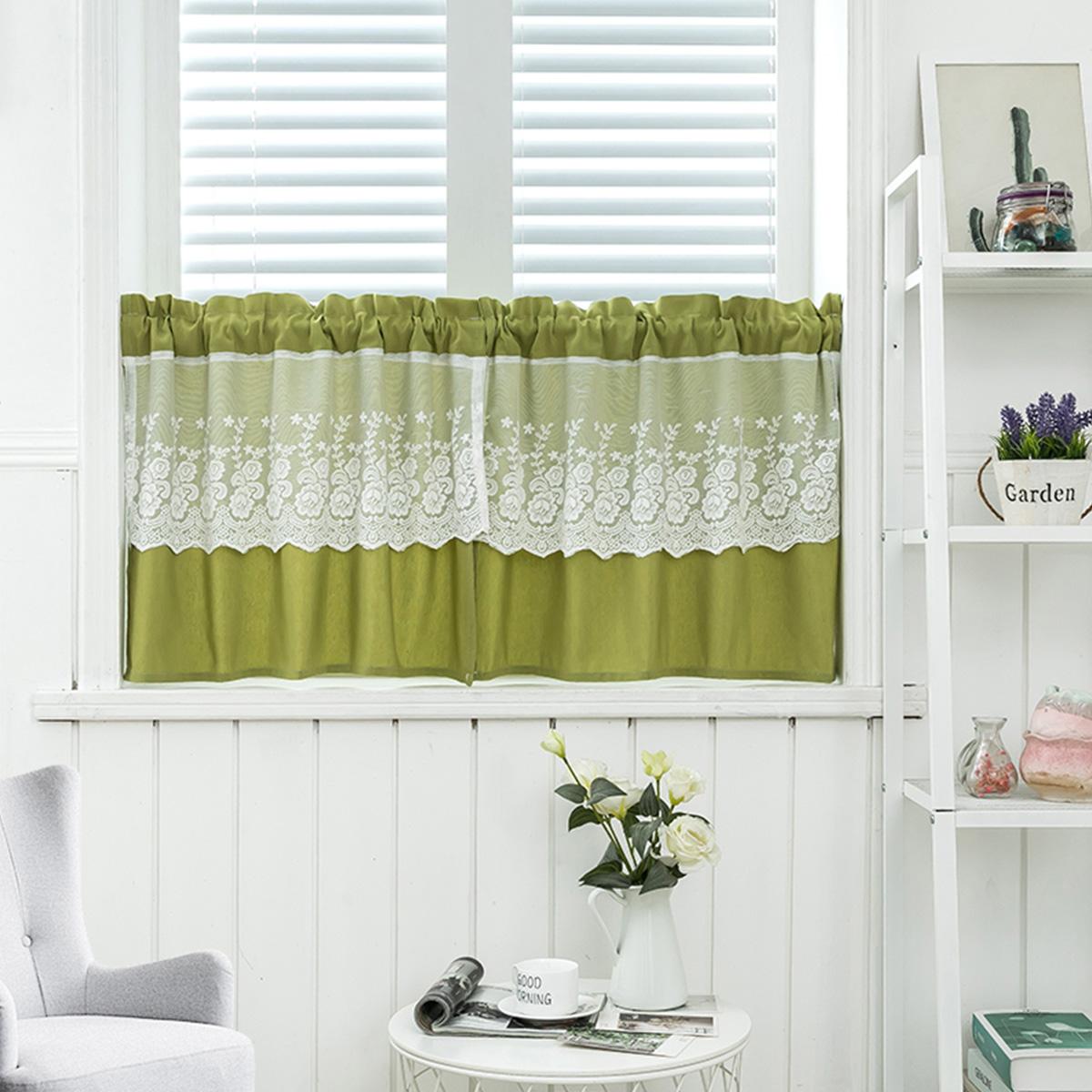 Details About 4 Colors Lace Kitchen Tiers Cabinet Curtain Window Short Curtains Half Treatment