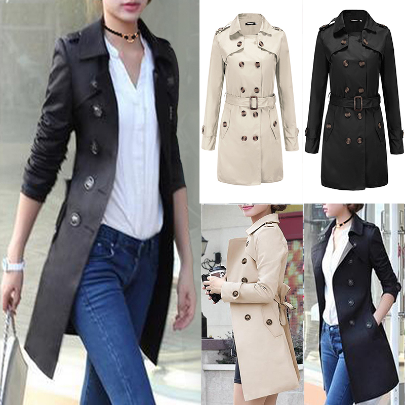 Womens Trench Coat Parka Long Slim Outwear Jacket Double Breasted Fashion