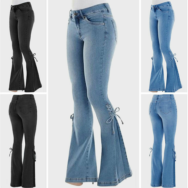 Womens High Waist Skinny Flared Denim Jeans Pants Ladies Bootcut Legging Trouser