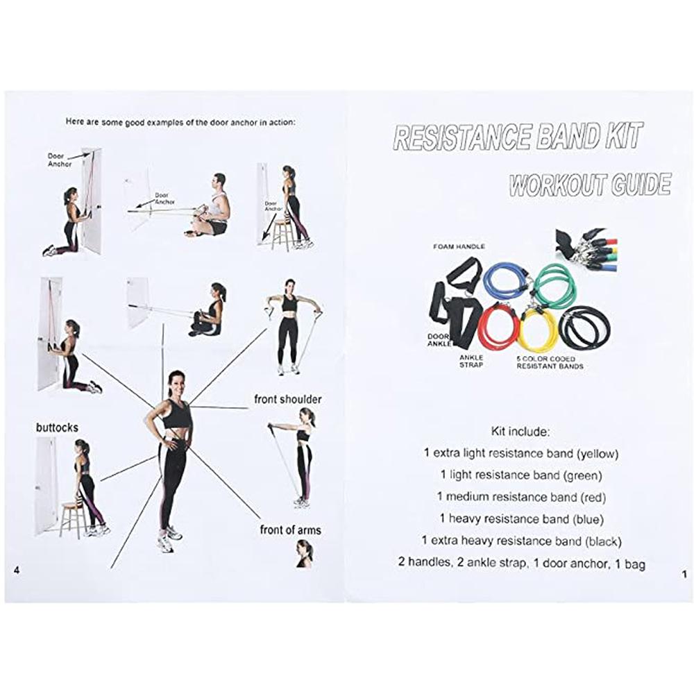 11-PCS-Resistance-Band-Set-Yoga-Pilates-Abs-Exercise-Fitness-Tube-Workout-Bands miniature 21