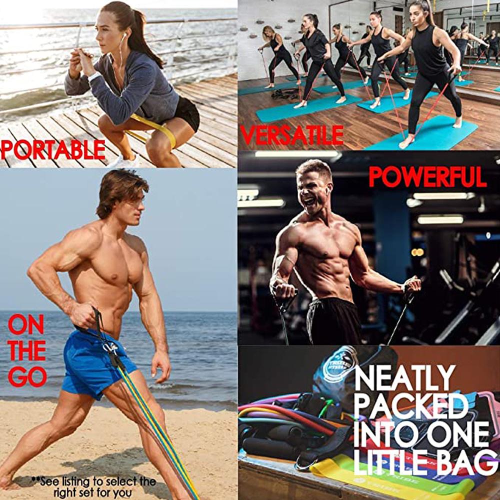 11-PCS-Resistance-Band-Set-Yoga-Pilates-Abs-Exercise-Fitness-Tube-Workout-Bands miniature 25