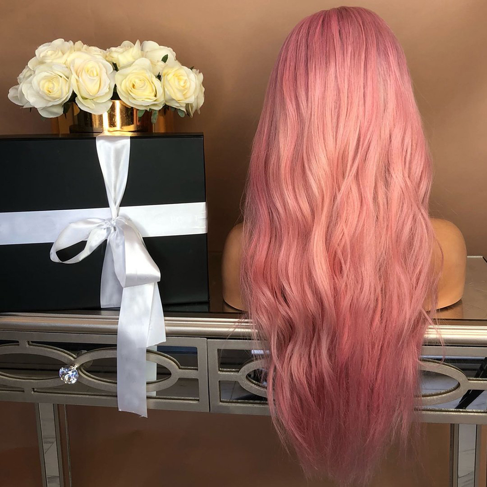 Ladies-Fashion-Long-Curly-Wavy-Full-Wig-Ombre-Pink-Purple-amp-Synthetic-Hair-Cosplay miniature 3