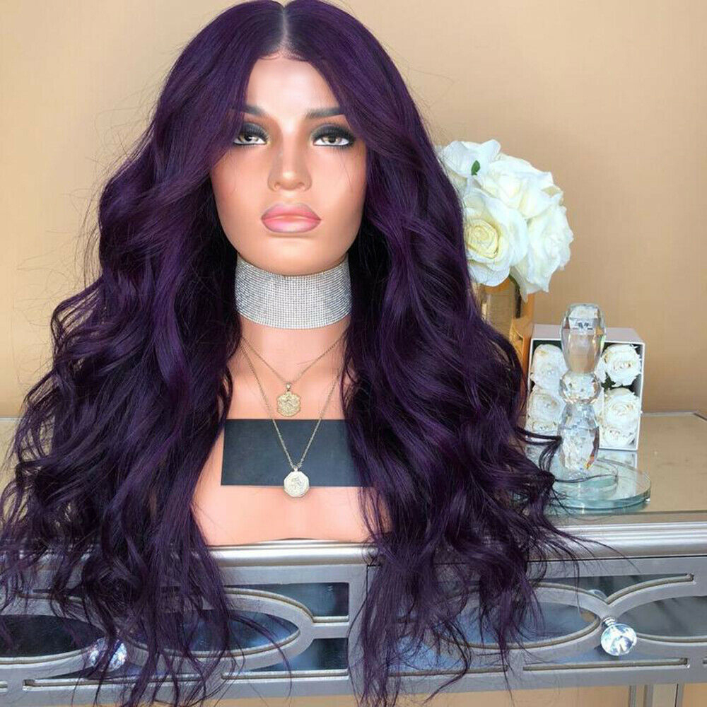 Ladies-Fashion-Long-Curly-Wavy-Full-Wig-Ombre-Pink-Purple-amp-Synthetic-Hair-Cosplay miniature 4