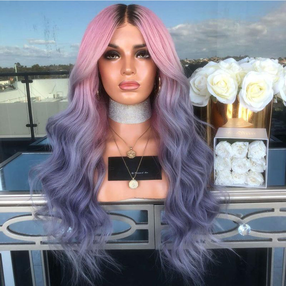 Ladies-Fashion-Long-Curly-Wavy-Full-Wig-Ombre-Pink-Purple-amp-Synthetic-Hair-Cosplay miniature 6