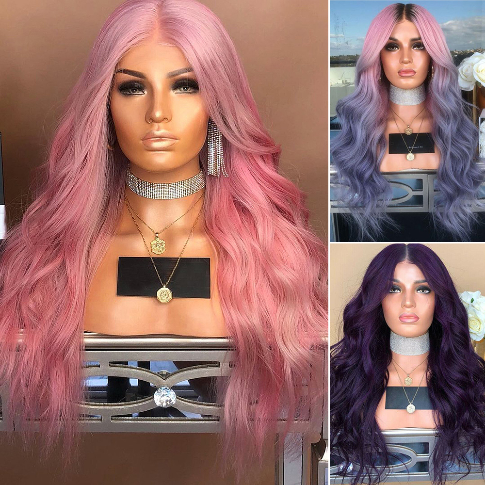 Ladies-Fashion-Long-Curly-Wavy-Full-Wig-Ombre-Pink-Purple-amp-Synthetic-Hair-Cosplay