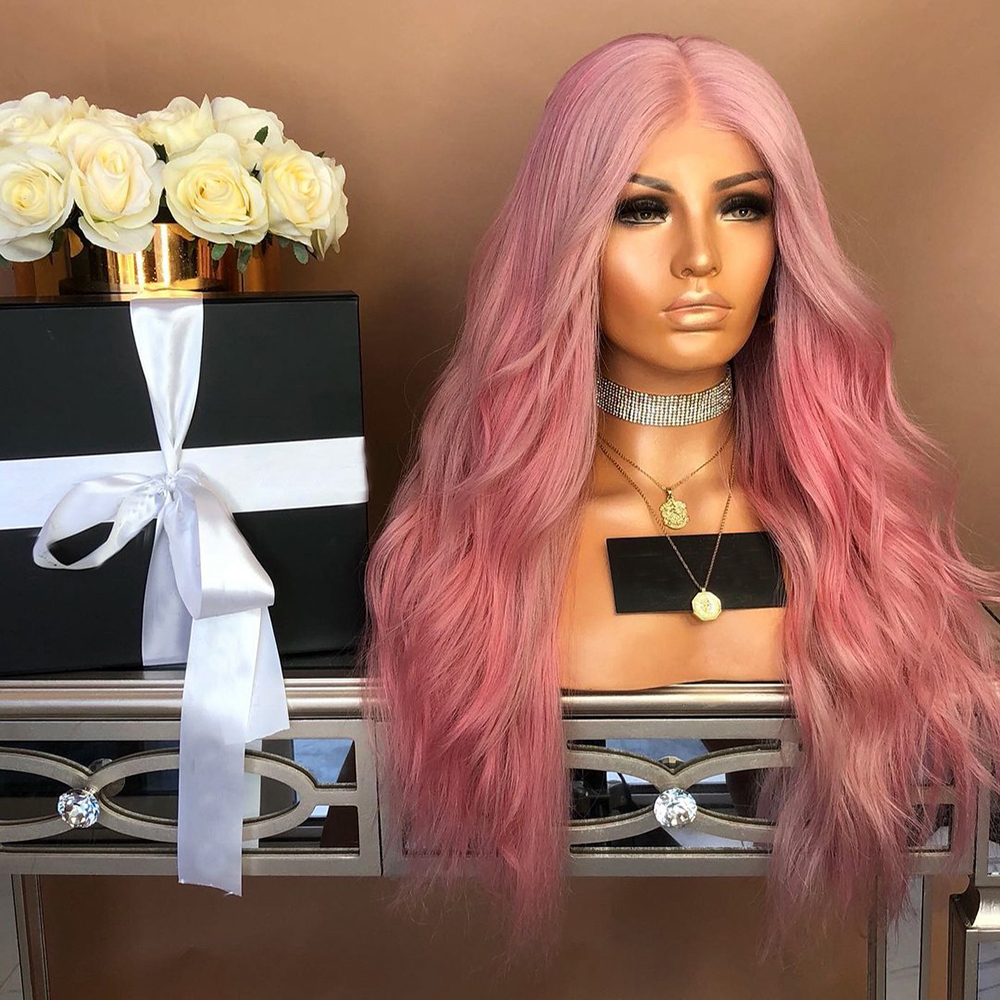 Ladies-Fashion-Long-Curly-Wavy-Full-Wig-Ombre-Pink-Purple-amp-Synthetic-Hair-Cosplay miniature 8