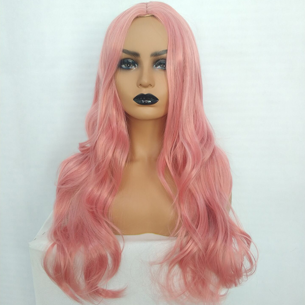 Ladies-Fashion-Long-Curly-Wavy-Full-Wig-Ombre-Pink-Purple-amp-Synthetic-Hair-Cosplay miniature 10