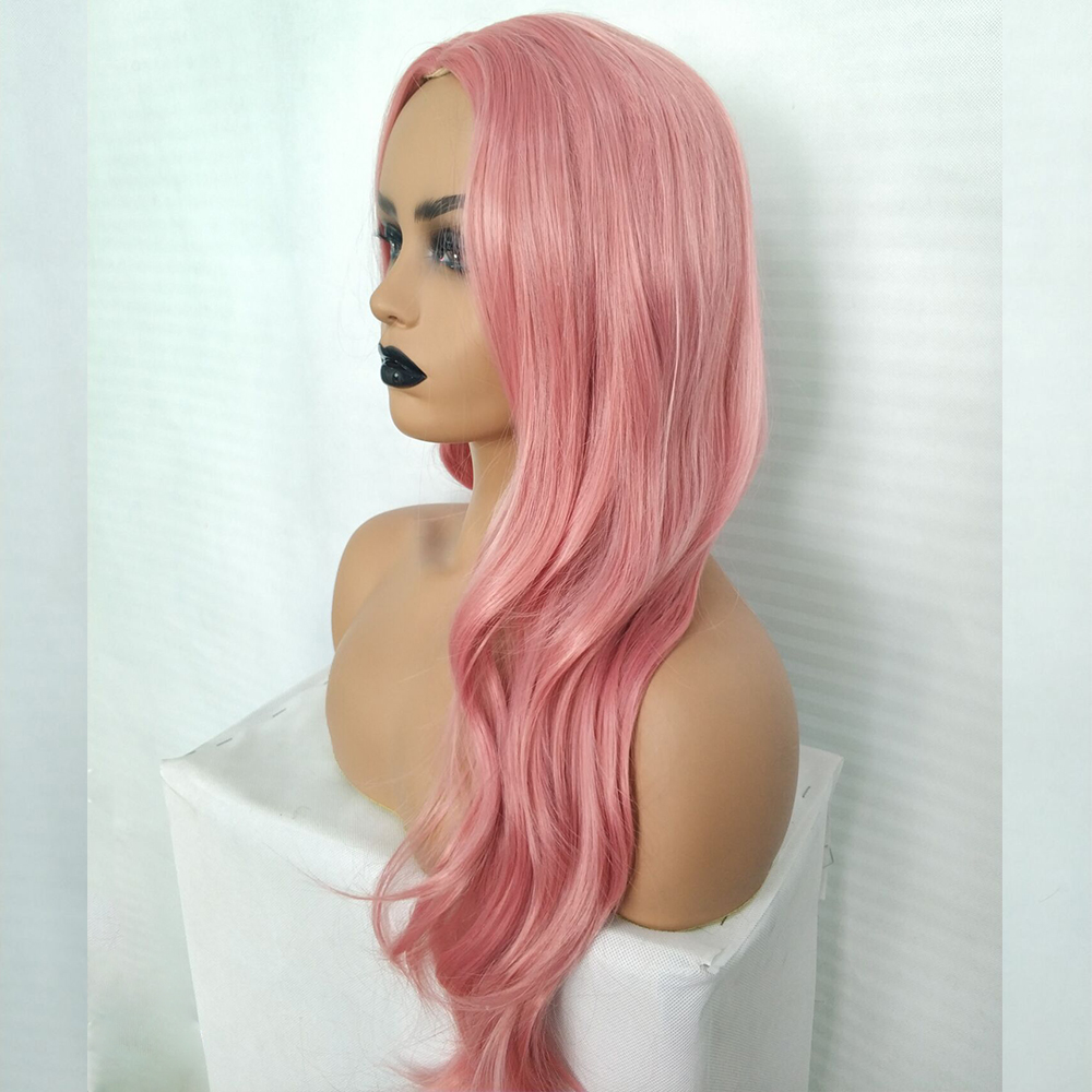 Ladies-Fashion-Long-Curly-Wavy-Full-Wig-Ombre-Pink-Purple-amp-Synthetic-Hair-Cosplay miniature 11