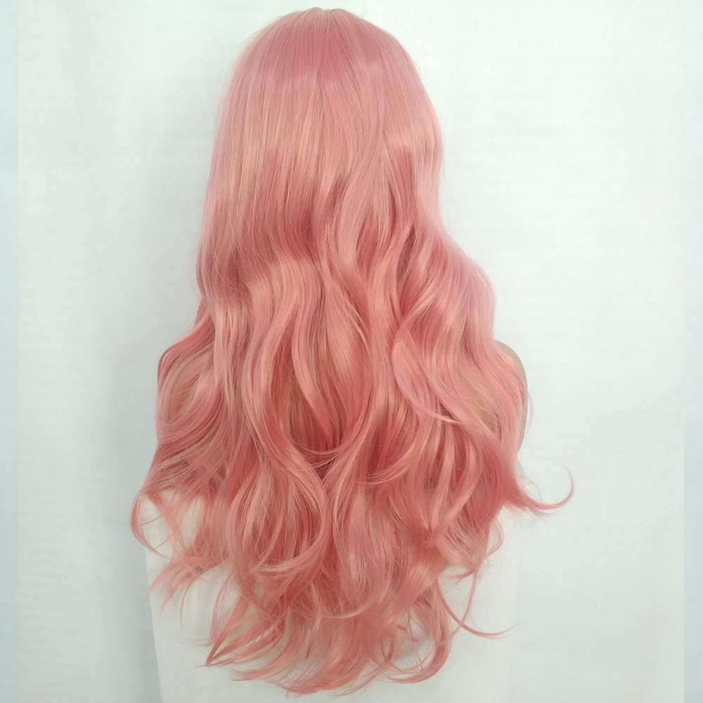 Ladies-Fashion-Long-Curly-Wavy-Full-Wig-Ombre-Pink-Purple-amp-Synthetic-Hair-Cosplay miniature 12