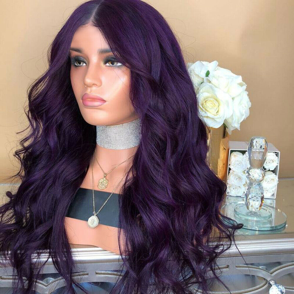 Ladies-Fashion-Long-Curly-Wavy-Full-Wig-Ombre-Pink-Purple-amp-Synthetic-Hair-Cosplay miniature 14