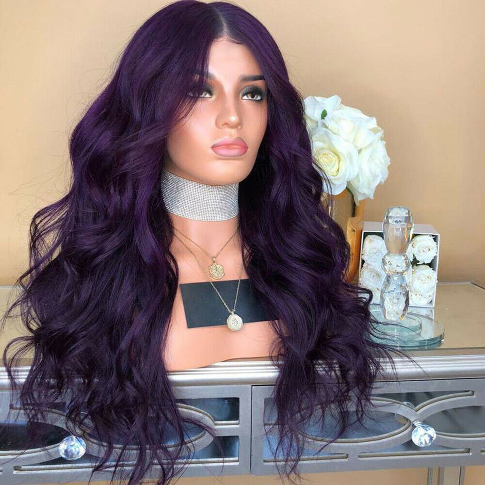 Ladies-Fashion-Long-Curly-Wavy-Full-Wig-Ombre-Pink-Purple-amp-Synthetic-Hair-Cosplay miniature 15