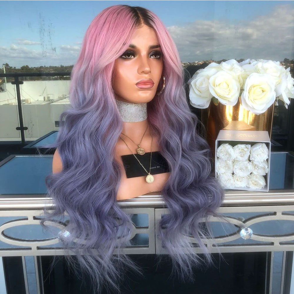 Ladies-Fashion-Long-Curly-Wavy-Full-Wig-Ombre-Pink-Purple-amp-Synthetic-Hair-Cosplay miniature 19