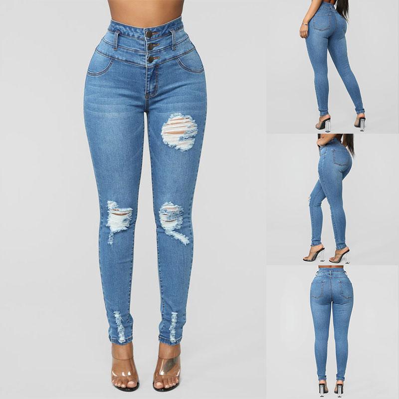Women/'s Denim Jeans High Waist Skinny Slim Fit Ladies Jeggings Trousers Pants