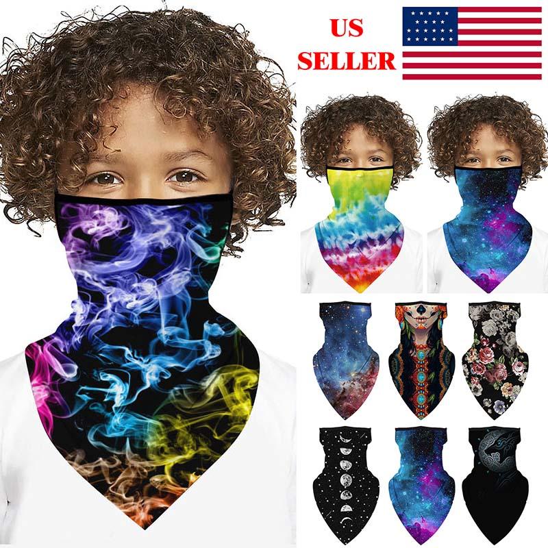 Kids Boys Girls Multifunctional Headwear Neck Scarf Bandana Balaclava Tube Gaiter Stretch Snood Headband