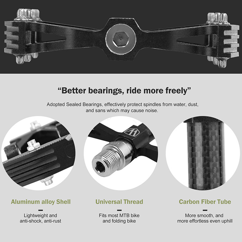PROMEND-Mountain-Road-Bike-Pedals-3-Bearings-Carbon-Fiber-Core-Tube-Pedals-Flat thumbnail 18