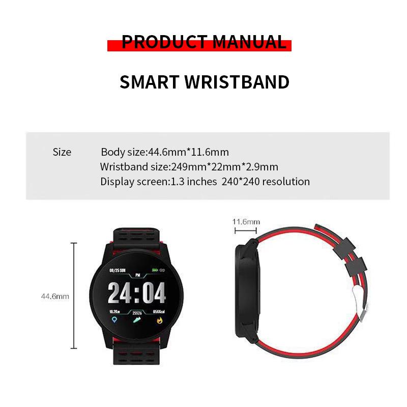 119-plus-smart-watch-IP67-impermeable-a-l-039-Eau-Bracelet-Moniteur-De-Frequence-Cardiaque-Fitness miniature 18