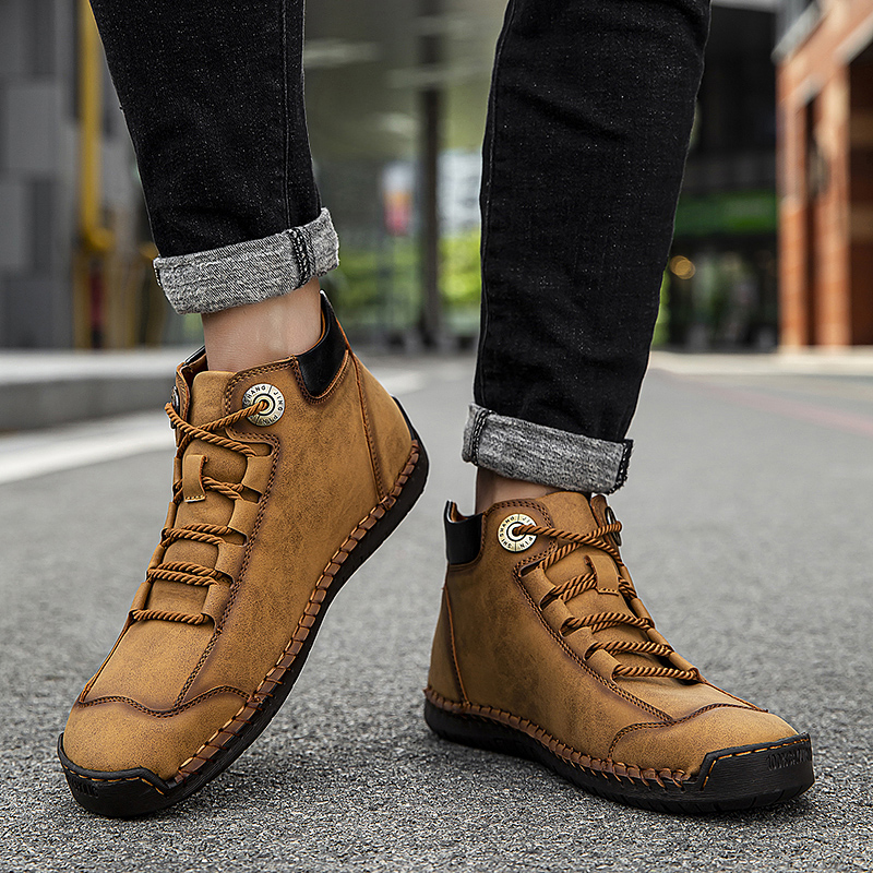 Mens Leather Casual Tooling Shoes Hand Stitching Loafers