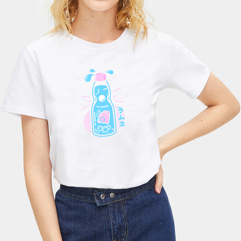 Summer-Ladies-Japanese-Food-Print-T-Shirts-White-Casual-Tops-Crew-Neck-Tops thumbnail 5