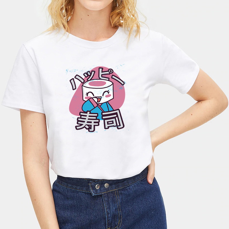 Summer-Ladies-Japanese-Food-Print-T-Shirts-White-Casual-Tops-Crew-Neck-Tops thumbnail 17