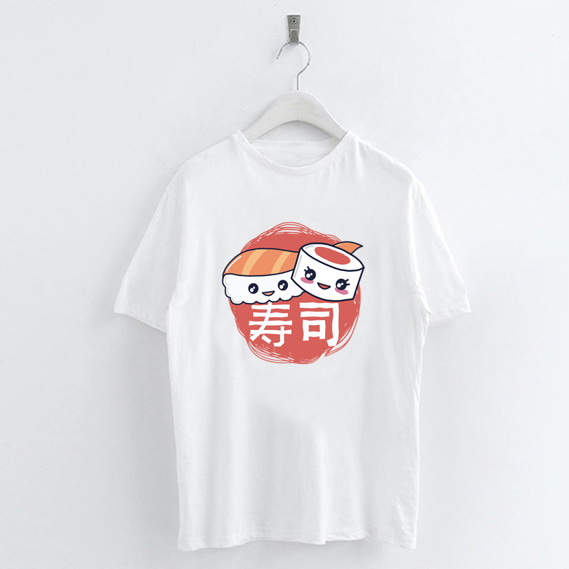 Summer-Ladies-Japanese-Food-Print-T-Shirts-White-Casual-Tops-Crew-Neck-Tops thumbnail 20