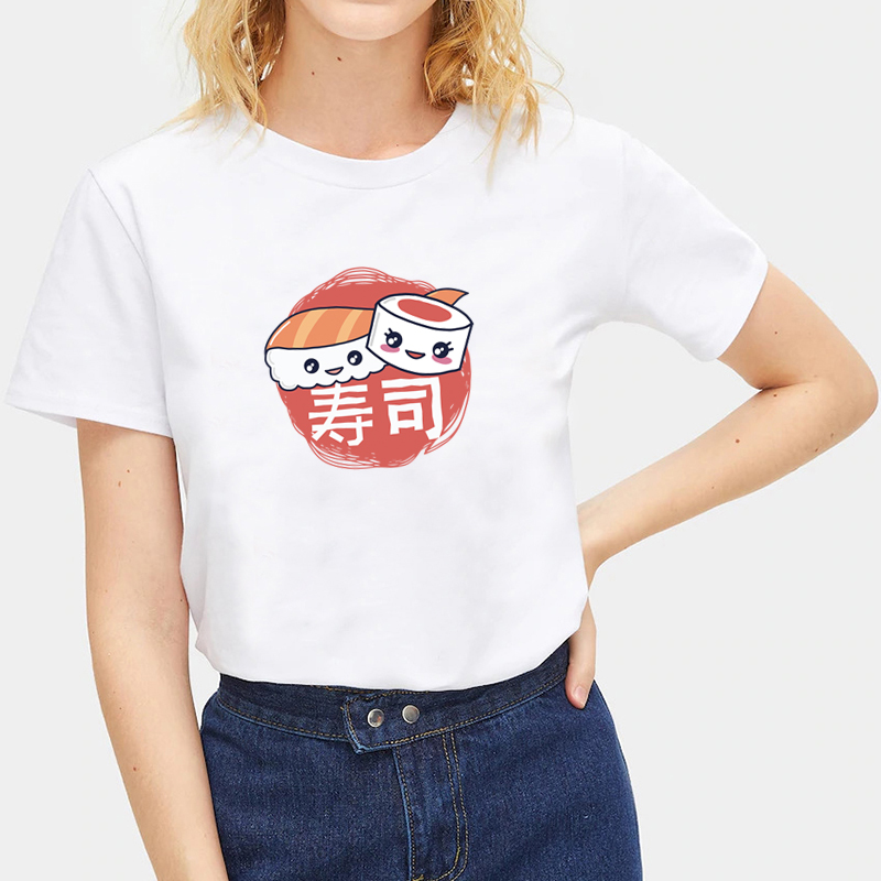 Summer-Ladies-Japanese-Food-Print-T-Shirts-White-Casual-Tops-Crew-Neck-Tops thumbnail 21