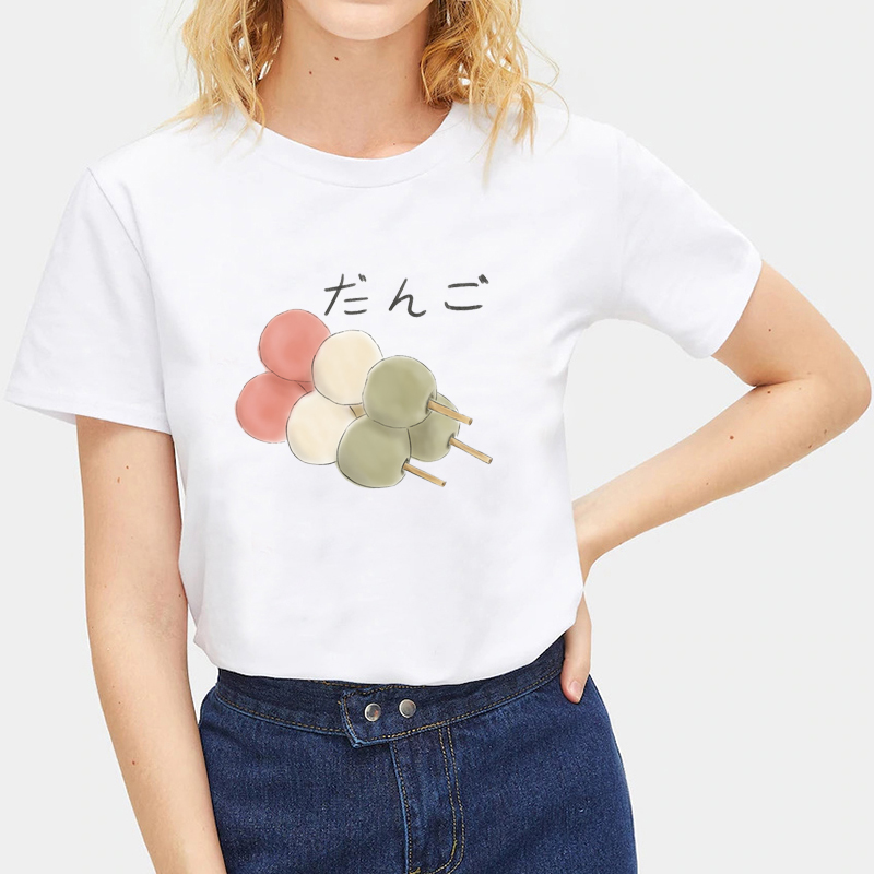 Summer-Ladies-Japanese-Food-Print-T-Shirts-White-Casual-Tops-Crew-Neck-Tops thumbnail 33