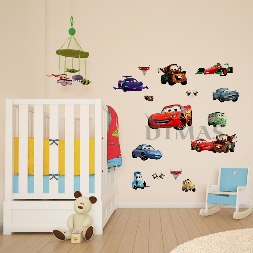 Large disney cars wall stickers boys lightning mcqueen kids bedroom decor decals 691714034216 ebay for Disney wall stickers for kids bedrooms