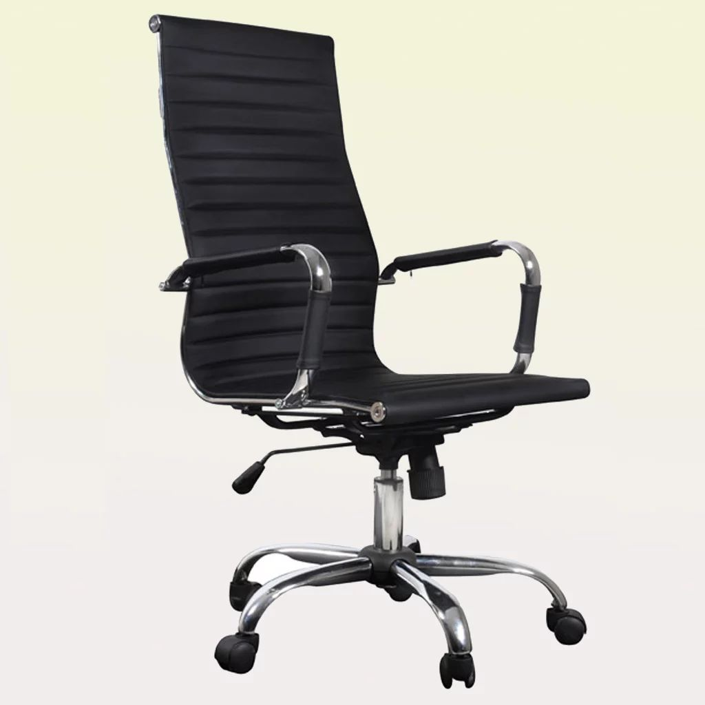 Details about luxury office chair high back black leather home furniture durable adjustable