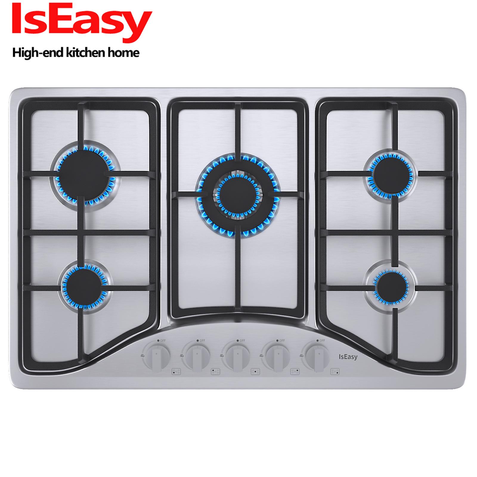 """IsEasy 30"""" Stainless Steel 5 Burners Gas Cooktop Built-in LP"""
